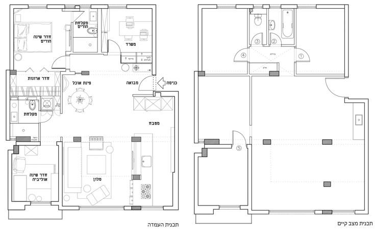 """מימין: תוכנית הדירה לפני השיפוץ, ובמרכזה 4 עמודים שאי אפשר היה להוריד. המעצבים השתמשו בהם בתכנון החדש של חלל המטבח, הסלון ופינת האוכל. הממ""""ד הפך לחדרה של הבת הקטנה, חדר ההורים הוגדל, והחדר הצמוד למבואה הפך למשרד שממנו הם עובדים. חדר רביעי שהיה בדירה הישנה בוטל, לטובת חדר ארונות, חדר רחצה נוסף וארון שירות גדול ונוח, שבו מכונות הכביסה והייבוש (באדיבות סטודיו 37)"""