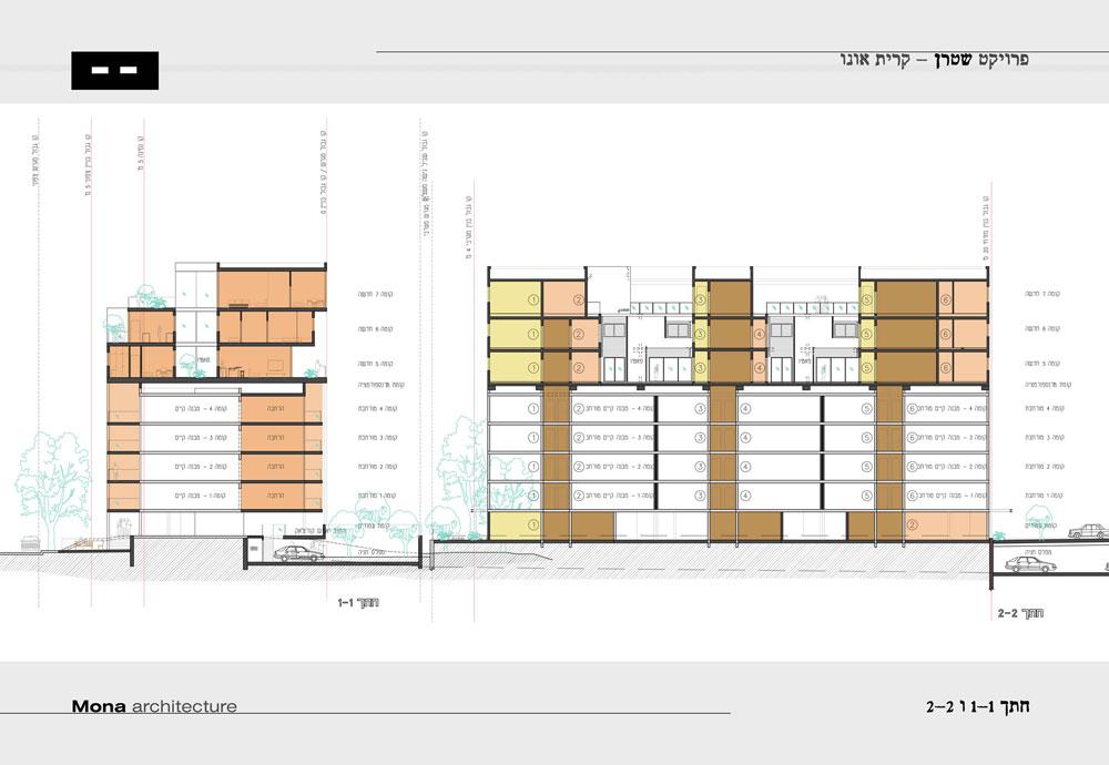 הפרויקט בקרית אונו. הדירות בקומות החדשות שונות זו מזו, והחתך משתנה: הקומה התחתונה נסוגה וכל קומה נוספת ''מתקדמת'' עד קו הקומות התחתונות הקיימות (שרטוט: 'מונא אדריכלות' אדריכל יואש ינקוביץ, ולאדריכל מרק טופילסקי)