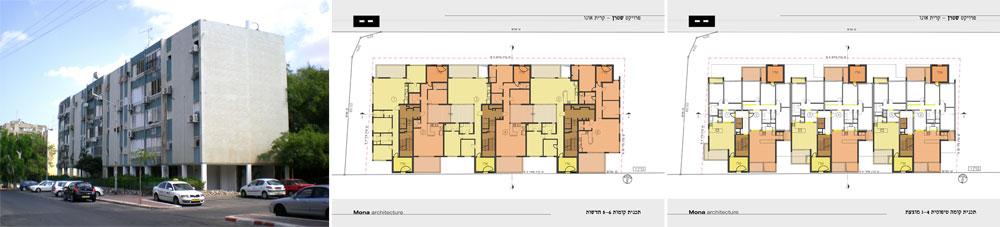 הפרויקט ברחוב שטרן בקרית אונו, בתכנון האדריכלים יואש ינקוביץ' ומרק טופילסקי. ניסיון להשאיר את האוכלוסייה בשכונה, כדי שלא תנדוד ( 'מונא אדריכלות' אדריכל יואש ינקוביץ, ולאדריכל מרק טופילסקי)