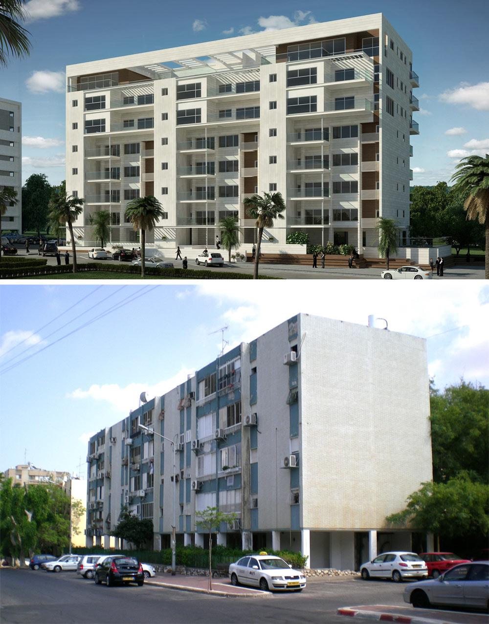 הפרויקט ברחוב שטרן בקרית אונו - לפני ואחרי (צילום והדמיה: יואש ינקוביץ, Oleg 55 Design)
