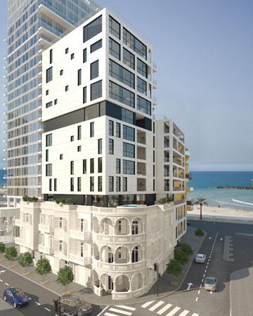 תקדים בעיר: בניין לשימור עם 13 קומות (בחלונות קופצים) מעליו (הדמיה: אנדו סטודיו)