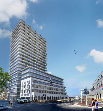 מימין מגדל האופרה, משמאל המגדל המתוכנן מעל מלון ''אמבסדור'' (הדמיה: קו מתאר אדריכלים)