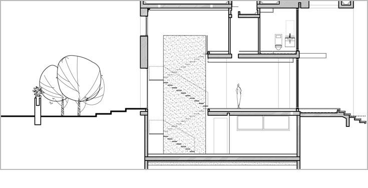 חתך הבית: בקומה העליונה שלושה חדרי שינה, בקומת המרתף חדר הקרנה, חדר עבודה וחדר שירות. קיר הבטון שעליו תלוי גרם המדרגות חוצה את הבית לכל גובהו (באדיבות פיצו קדם אדריכלים)