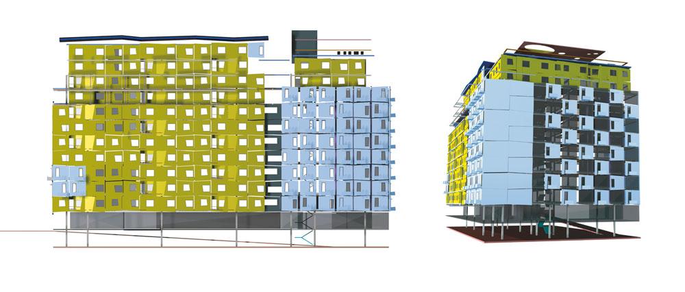 סכימה של הבניין המתוכנן ברחוב פין. 40 דירות בנות 55 ו-80 מ''ר, במודלים מודולריים, שאפשר להתאים לדיירים.  המרפסות והפנלים ייוצרו מראש מסיבי פוליגלס מעורבים בבטון מינרלי טבעי, ויחוברו לשלד בצורה שמאפשרת גמישות תכנונית (הדמיה: לייף פורם)