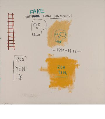 בדיקה של מושגי ה''גבוה'' וה''נמוך'' באמנות. עבודה של ז'אן מישל בסקיאט. copyright © The Estate of Jean-Michel Basquiat. Licensed by Artestar, New York  (צילום: אלעד שריג)