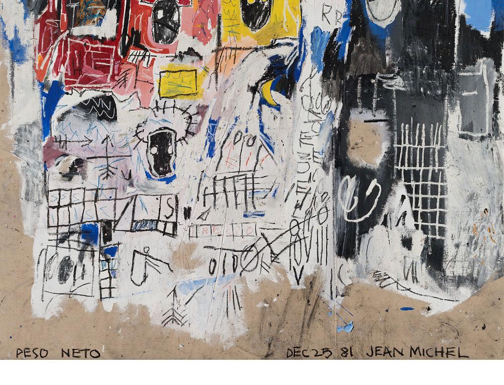 מארג של ציטוטים כתובים, מצוירים ורשומים. עבודה של ז'אן מישל בסקיאט. copyright © The Estate of Jean-Michel Basquiat. Licensed by Artestar, New York (צילום רפרודוקציה: אלעד שריג)