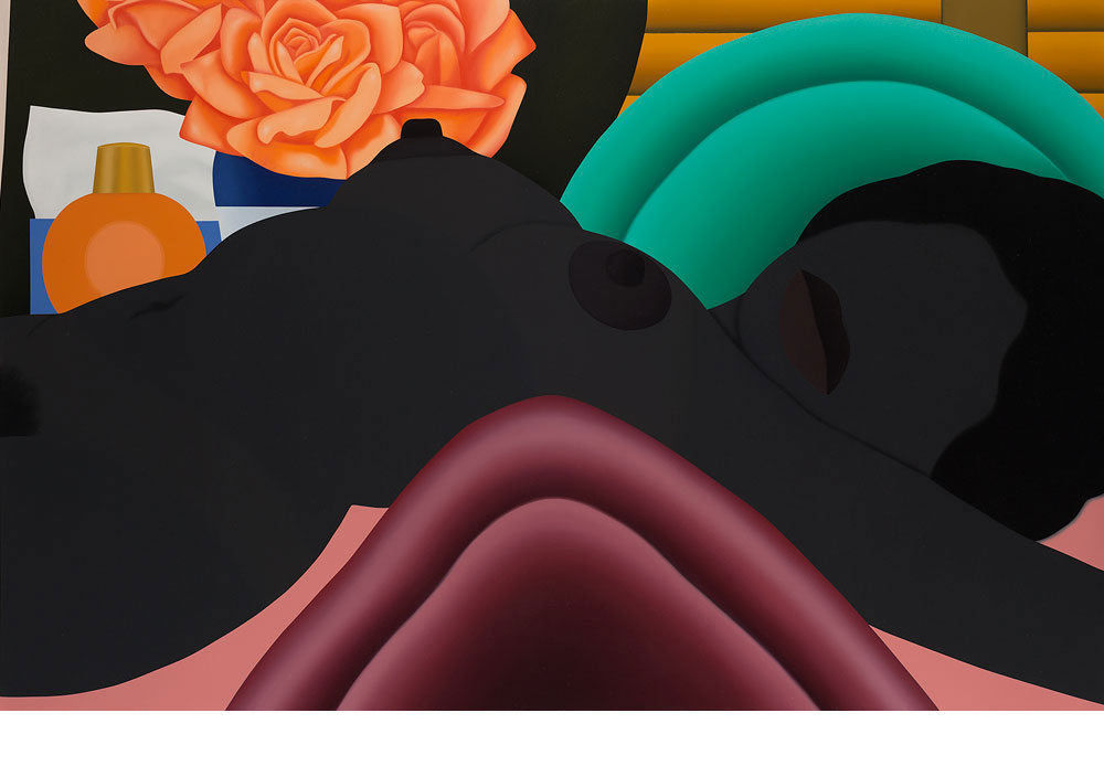 מתוך התערוכה שנפתחה בסוף השבוע במוזיאון תל אביב. ''עירום אמריקאי גדול חום'' הוא ציור גרפי, עצום ממדים ובוהק של טום וסלמן, שכמו וורהול, עסק בחלום האמריקאי. Art © Estate of Tom Wesselmann / Licensed by VAGA, New York, NY (צילום רפרודוקציה: אלעד שריג)