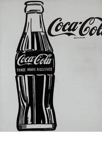 בקבוק קוקה קולה מתחילת הדרך. © 2013, The Andy Warhol Foundation for the Visual Arts, Inc. / Artists Rights Society (ARS), New York (צילום רפרודוקציה: אלעד שריג)