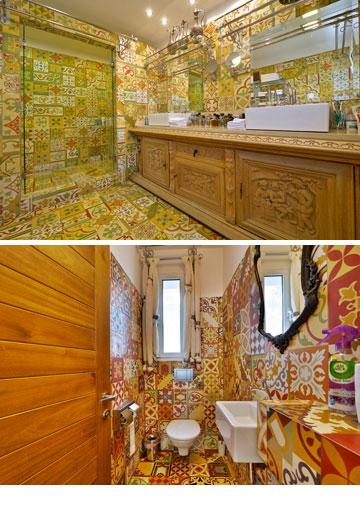 חדרי מקלחת בסגנון חמאם טורקי, עם אריחים מצוירים (צילום: איתי סיקולסקי)