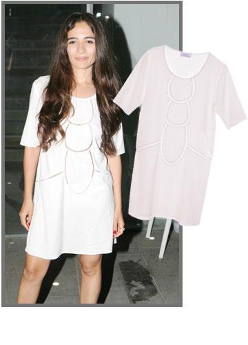 השחקנית רותם זיסמן־כהן בשמלה לבנה של Made by me בעיצוב חלי יפרח (700 שקל) (צילום: ראובן שניידר, מתן אשל)