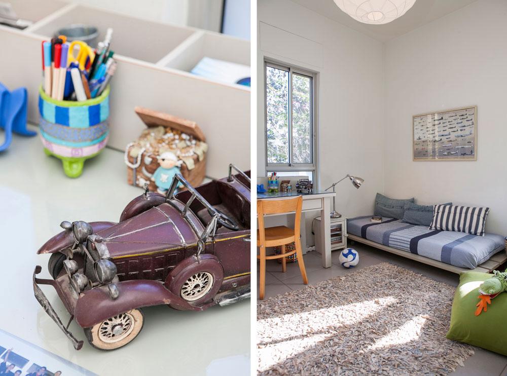 למעלה ולמטה: שניים מחדרי הילדים. גם הם מתאפיינים בתשומת לב לפרטים, חפצי חן ותמונות על הקירות (צילום: שירן כרמל )