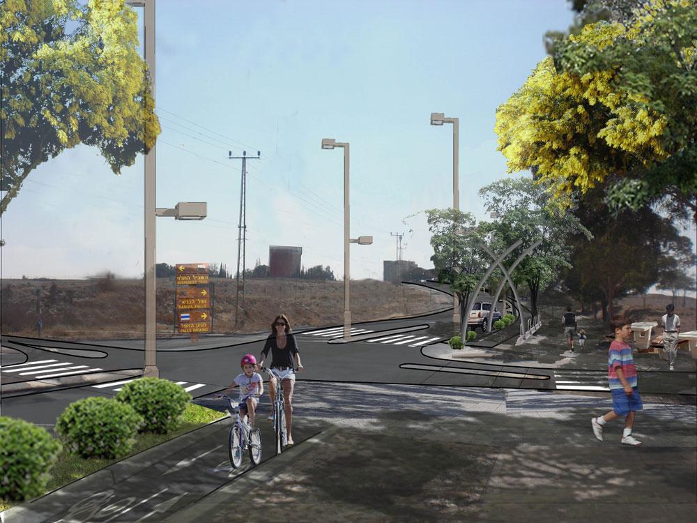 """הדמיה של """"טיילת מואב"""", פרויקט שאפתני שעומד לקום בקרוב במימון משרדי התחבורה והתיירות. הרעיון המרכזי שעומד מאחוריו הוא הרצון לצמצם את שטח הכבישים בעיר, כך שניתן יהיה לשלב בה גם תחבורת אופניים. מתוכננים בה גם הסדרת תשתיות, תוספת עמודי תאורה וריהוט רחוב, מתקני כושר, פינות ישיבה, נקודות תצפית, שלטי הסבר, אמנות סביבתית ועוד (הדמייה: רם איזנברג עיצוב סביבה)"""