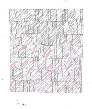 סקיצה של מוצר חדש: אריחי בטון בגוני ורוד ואפור ( תכנון: אירנה גולדברג ופיצו קדם)