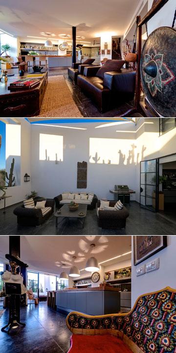 ''הדירה מורכבת משתי קומות - אחת פרטית ואינטימית המשמשת למגורים, קומה נוספת לאירוח'' (צילום: איתי סיקולסקי)