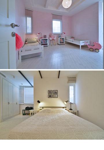 חדרי השינה של רונן חן ושל בנותיו (צילום: איתי סיקולסקי)