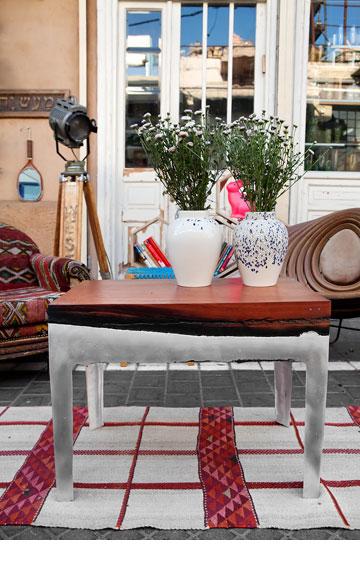 שולחן עץ ויציקת אלומיניום בעיצוב הילה שמיע, ''אסופה'' (צילום: ענבל מרמרי)