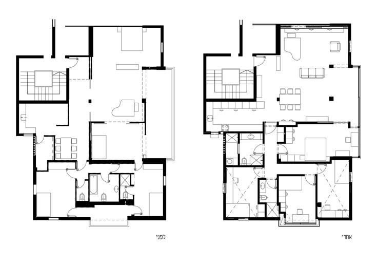 משמאל: תוכנית הדירה ''לפני''. מימין: תוכנית הדירה המשופצת. המטבח זכה לפרופורציות חדשות, מה שהיה פינת האוכל הפך לחדר רחצה, השירותים המקוריים הורחבו והפכו לחדר מקלחת שני, ואילו חדר הרחצה המקורי הפך לחדר שינה נוסף. כך הורחבה הדירה מארבעה לחמישה חדרים ( צילום: אלעד שריג )