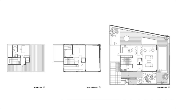 מימין: תוכנית קומת הכניסה, שבה הסלון, המטבח, פינת האוכל ושירותי אורחים. במרכז: אגף ההורים שבקומה הראשונה, שמעליו, בקומת הגג (משמאל) יש חדר עבודה עם יציאה למרפסת גדולה. חדרי הילדים (כולם גדולים) נמצאים בקומת המרתף (באדיבות אדריכלית טולה עמיר)