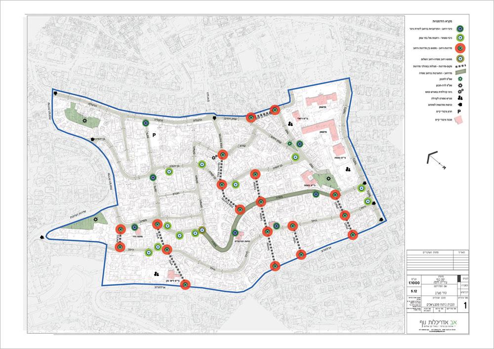 במוקדים האלה, שמסומנים כאן על מפת השכונה, יהיה טיפול בריצוף ובריהוט הרחוב, תוך יצירת ''שפת רחוב'' חדשה, והרחבת המדרכות כדי לעודד את הולכי הרגל ולא רק את המכוניות (תכנית: אב אדריכלות נוף)