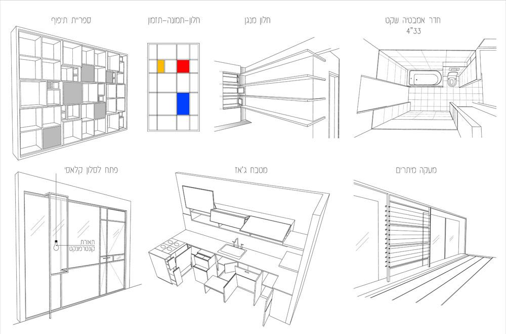 השרטוטים הקונספטואלים של זיק לדירה (תכנית: אדריכל קובי זיק)