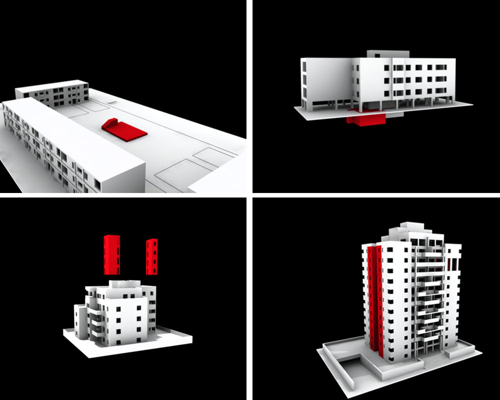 """האבולוציה של המיגון הישראלי: בשנות ה-50 וה-60 שיכוני בלוק בחולון, המקיפים גן שעשועים שמתחתיו שוכן מקלט ציבורי; בית משותף בן שלוש קומות על עמודים, שנבנה ב-1978, כולל מקלט משותף חפור באדמה; בית משותף בן ארבע קומות וחניה בקומת הקרקע שנבנה ב-1993, אחרי מלחמת המפרץ, עם ממ""""דים בשטח 5 מ""""ר בפיר פנימי (ללא חלונות) ובטור חיצוני (עם חלונות קטנים); בית H משותף (הדמיה: אדריכל ניר רותם, ספארו אדריכלים)"""