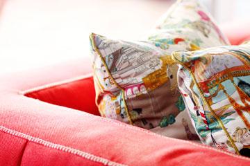 כריות הסלון מ''רנבי הוט קוטור'' (צילום: אפרת לוזנוב)