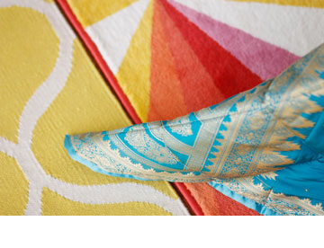 שילוב הצבעים בחדר השינה (צילום: אפרת לוזנוב)