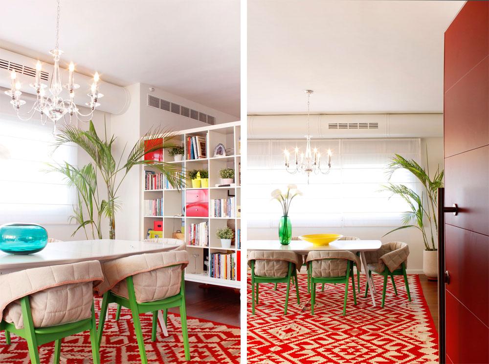 מימין: דלת הכניסה האדומה נפתחת לפינת אוכל מזמינה וצבעונית. משמאל: ספריית כוורת פשוטה של ''איקאה'' הונחה על גלגלים תעשייתיים ומפרידה בין פינת האוכל למבואת חדרי השינה (צילום: אפרת לוזנוב)