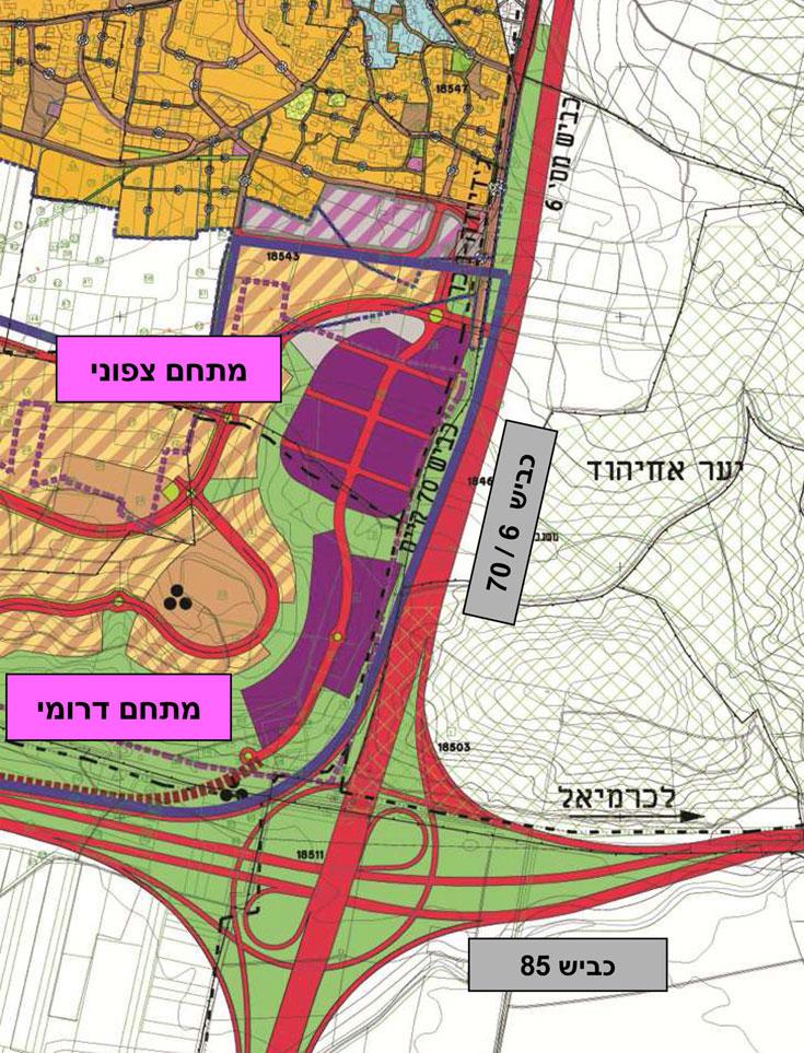 הכתם הסגול הוא אזור התעשייה שיחצוץ בין העיר למסילת הרכבת