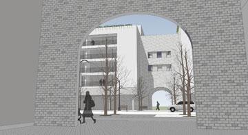 """הדמיה של מעבר בין הפארק לרחוב הראשי. קשת בכל זאת יש (באדיבות ערן מבל אדריכלים – ארכיטקטורה ובינוי ערים בע""""מ)"""