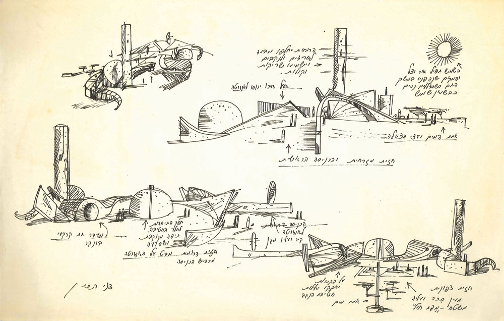 """רישומי הכנה של דני קרוון במהלך תכנון האנדרטה. האלוף עוזי נרקיס ביקש שהמבקרים באתר """"יעלו ויכבשו בגופם את הנוף"""" (באדיבות ארכיון דני קרוון)"""