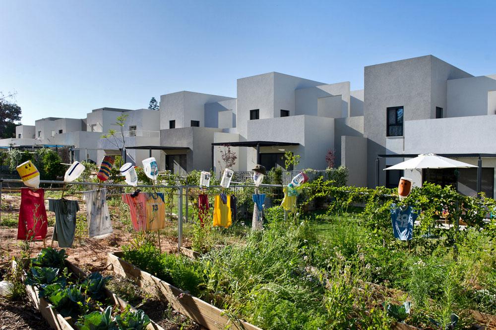 """החצר האחורית משותפת לכל הבתים. """"הסגנון הקיבוצי"""", אומרת ענבר עדות, """"מתבטא בבנייה הטורית, בדשא המשותף, בכך שאין גדרות. יוצאים החוצה ורואים את השכנים"""" (צילום: עמית גושר)"""