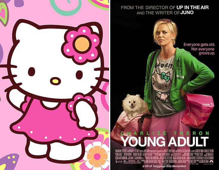 שרליז תרון בסרט Young Adult והלו קיטי. ככה נראית ילדת כאפות מזדקנת, שנאחזת נואשות בנעוריה הנוצצים