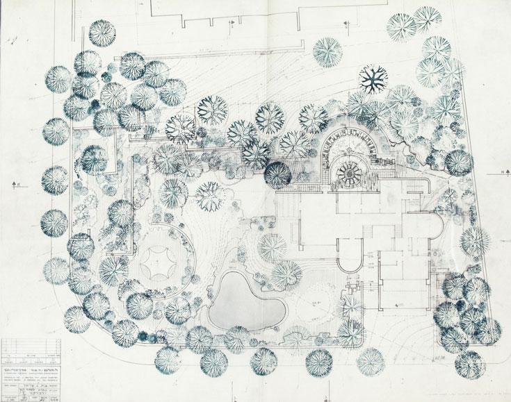 תוכנית פיתוח הגן והבריכה, שתיכננו אדריכלי הנוף ליפא יהלום ודן צור (תכנון פיתוח השטח והגן : ליפא יהלום ודן צור, אדריכלי נוף)