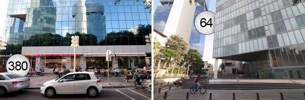 מגדל ''ציון'' בשדרות רוטשילד (משמאל) השכיל להצטייד בקומה מסחרית תוססת, בעוד שהבנק הבינלאומי ממול הוא אחד המקומות הנטושים בגוש דן כולו. המספרים מדברים (צילום: דור נבו)