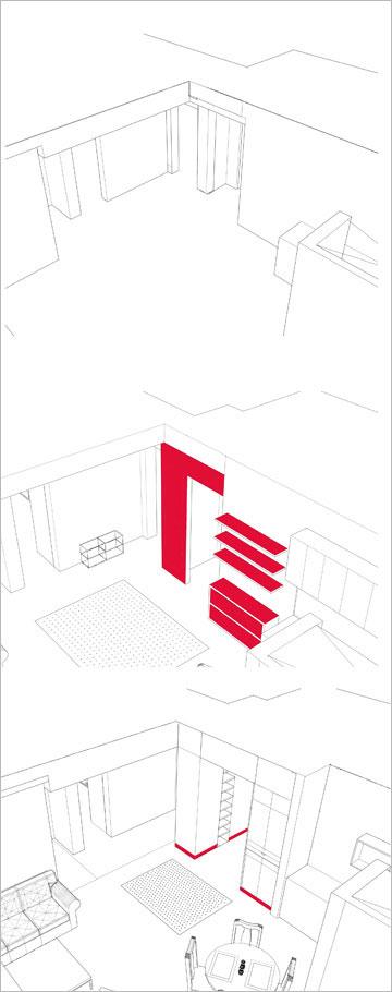 שרטוט הדירה המקורית (למעלה) ושתי אופציות להגדרת מבואה  (תכנית: אדריכל ערן איזנהמר)