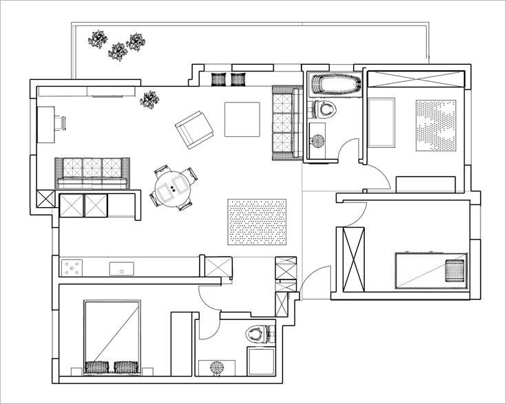 תוכנית הדירה, אחרי השדרוג: חדר אחד נפתח לטובת החלל המרכזי, ארון גדול הגדיר מבואה והוסיף שטחי אחסון (תכנית: אדריכל ערן איזנהמר)