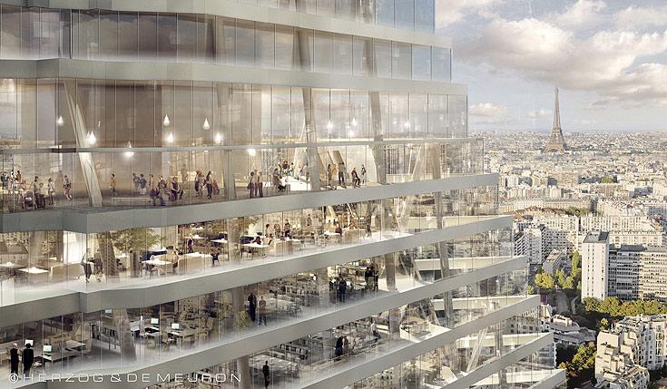הדמיית הפירמידה, ומגדל אייפל ברקע. בניגוד למקובל בתל אביב, המגדל יהיה פתוח לכולם (צילום: הרצוג ודה מרון)