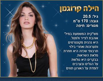 כרטיס הביקור של הילה קרוגמן בתחרות (צילום: ששון משה)