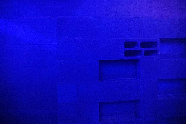 בלוק או לא בלוק? החלטה אקוסטית לדרג את הבלוקים כדי לספוג יותר רעש, ובחירה ויזואלית לצבוע את הקירות בכחול כהה ולא בשחור (צילום: גדי דגון)