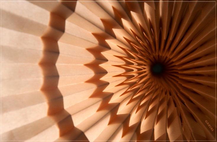 גריבי מתמחה בטכניקה שנקראת ''טסליישן'' - אוריגמי באמצעות תבניות מחזוריות, שלא מנסות לחקות צורות טבעיות אלא נותנות להן פרשנות מתמטית רפטטיבית (צילום: אלבי צרפתי)