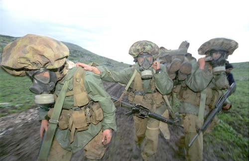 IDF soldiers in a chemical attack drill (Photo: IDF Spokesperson)
