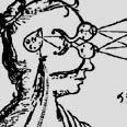 """תרשים מאת דקארט. הוא סבר שבלוטת האצטרובל השוכנת במרכז המוח היא """"מושב הנפש"""""""