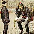 איור של סצינת שבירת חרבו של קפטן אלפרד דרייפוס ב-5 בינואר 1895