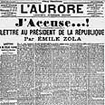 """אני מאשים"""", מכתבו של זולה לראש ממשלת צרפת, כפי שפורסם בעיתון """"ל'אורור"""" בינואר 1898"""