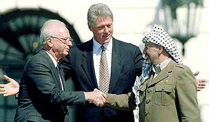 Rabin, Clinton and Arafat. 'Israel needs to finally declare that the Oslo process is null and void and that the concept of land for peace is no longer an option' (Photo: Reuters)  (Photo: Reuters)