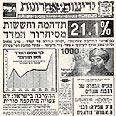 """הכותרת בעיתון """"ידיעות אחרונות"""" מבשרת כי מדד אוקטובר 1983 הגיע ל- 21.1 אחוזים"""