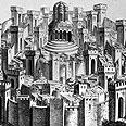 """בית המקדש הראשון אשר נבנה ע""""י שלמה המלך, איור משנת 1500 בקירוב"""