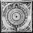 שעון לוח שנה בארמון המפטון קורט הסמוך ללונדון, מציג את השעות, ימי השבוע וחודשי השנה
