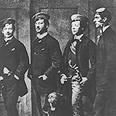 """הרצל (מימין) כחבר אגודת הסטודנטים הווינאית """"אלביה"""", 1882"""
